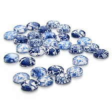 30pcs Assorted Blue and white Porcelain Pattern Round Glass Flatback Cameo 12MM