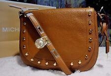 NWT Michael Kors HAMILTON TRAVELER Studded LG Messenger LUGGAGE Leather Bag $328