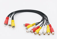 3 RCA Male Jack to 9 RCA Female Plug Splitter Audio DVD Video AV Adapter Cable