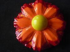 VINTAGE BIG'ORANGE PLASTIC/LUCITE FLOWER BROOCH CORSAGE1960s