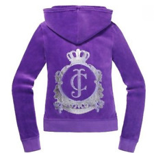 Juicy Couture JC Classic Crest Velour Hoodie Winter Iris Purple M $128
