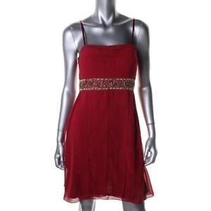 Sue Wong ~ Red Chiffon Beaded High Waist Carwash Pleats Party Dress 8 NEW $220
