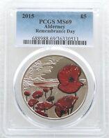 2015 Royal Mint Remembrance Day Poppy BU £5 Five Pound Coin PCGS MS69