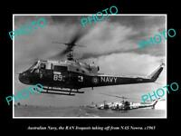 OLD HISTORIC PHOTO OF AUSTRALIAN NAVY IROQUOIS HELICOPTER AT NAS NOWRA c1965