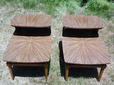 Pair Vintage Mid Century Modern LANE Step End Tables 2 Tier Nightstand Starburst