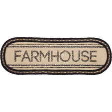 "SAWYER MILL Farmhouse Jute Table Runner Braided Black Stencil Rustic 8""x 24"""