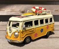 VW Style Camper Van Rustic Shabby Tin Metal Model Ornament 16cm  Yellow