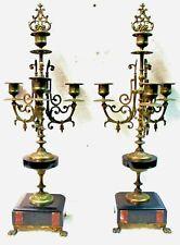 Paire de candélabre en bronze Napoléon III, à double patine à nettoyer