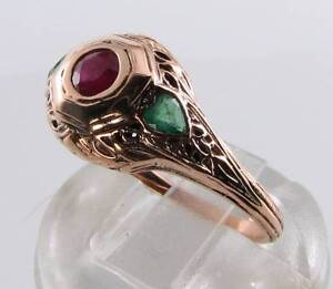 LUSH 9CT 9K ROSE GOLD RUBY & EMERALD HEART ART DECO INS RING FREE RESIZE
