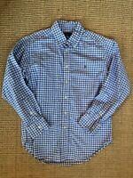 Boys Polo Ralph Lauren Long Sleeve Button Down Blue White Checked Shirt 10/12 EC