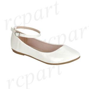 New girl's kids back zipper White synthetic patent flower girl dress shoes