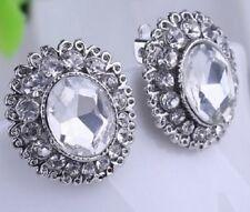 Silver Plated Clear Crystal Rhinestone Clip On Earrings Diamante Non Pierce E36