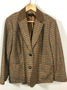 TALBOTS Blazer 16 Houndstooth Riding jacket Elbow Patches Brown Fitted