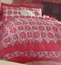 New Cathrine Lansfield single luxury soft brushed cotton duvet set. Red/cream
