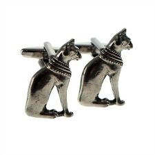 English Made Eqyptian Cat Pewter Cufflinks (XWCL017)