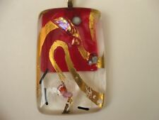 FIONA STUDIO Gold luster Fused Glass dichroic Pendant deep red and transparent