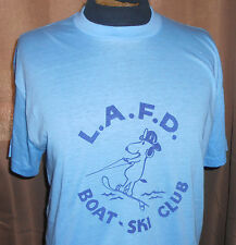VTG 70s LAFD Soft Thin T Shirt - Snoopy/Water Ski/Boat-Los Angeles Fire Dept-L