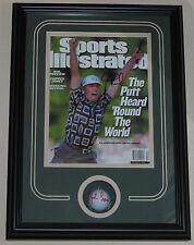 JUSTIN LEONARD signed golfball Sports Illustrated framed PGA Ryder Cup
