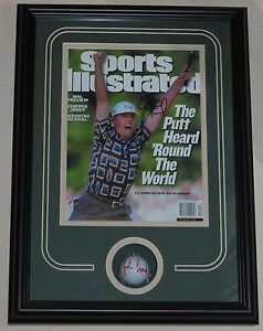 JUSTIN LEONARD signed golf ball Sports Illustrated framed PGA Ryder Cup