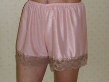 Peach  Satin French Knickers 10/12  in  nylon with coffee lace