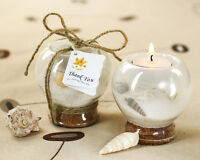 25 Beach Summer Sand Seashell Tealight Candle Holder Bridal Wedding Favor