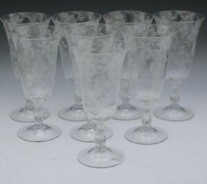 "CAMBRIDGE ELEGANT GLASS ETCHED BLOSSOM TIME SET OF 8 ICED TEA GOBLETS 7.1/2"""
