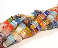 60 Millefiori Glasperlen 6mm Würfel Bunt Strang Schmuck Armband Halskette R233