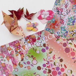 100pcs JAPANESE ORIGAMI CRAFT PAPER Square Folding Chiyogami Washi 4 design 15cm