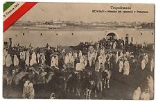 CARTOLINA 1912 TRIPOLITANIA BENGASI MERCATO DEI CAMMELLI E PANORAMA  RIF. 10001