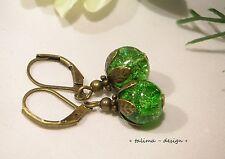 Ohrringe  Bronze Vintage Elfen Fee grün handmade Antik Look