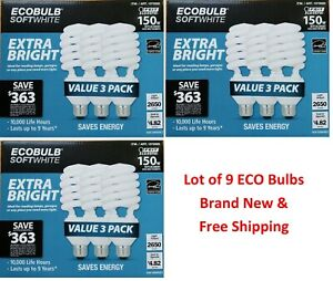 9 Packs Feit Electric EcoBulb Soft White 40W Extra Bright 150W Compact Light