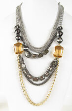 Fossil BRAND Tri Tone Layered Multi Stone Chain Long Leather Necklace