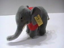 """NEW NOS Vintage Steiff Plush Elephant button tag 6"""" x 4"""" Austria"""