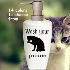 Cat Wash Your Paw Soap Pump dispenser Bathroom Kitchen lotion soap Dispenser
