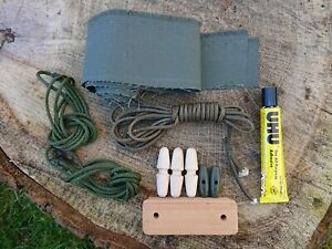 British Army (Mostly) Canvas Tent repair kit, 9x9, 12x12, Canvas, toggles, glue+