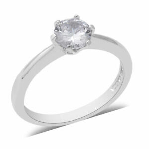 ELANZA Simulated Diamond Solitaire Ring in Rhodium Plated Sterling Silver Size M