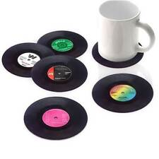 6pcs Vintage Vinyl Cup Drinking Coasters Place Mats Set Retro Record Discs Set
