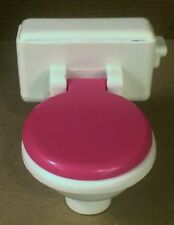 Fisher Price Loving Family Dollhouse White Hot Pink Bathroom Doll Toilet w/ Lid