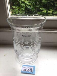 Hand Etched Hurricane Vase/Candle Lamp - Beautiful  Gift Unused
