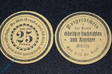 Notgeld Görlitz , Nachrichten & Anzeiger , 25 Pfennig Schein ohne Kn , M/G 449.4