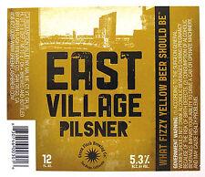 Green Flash Brewing EAST VILLAGE PILSENER beer label San Diego CA  12oz
