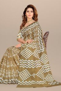 Tranding Latest Designer Handprinted Cotton Saree Gift For Women With Blouse