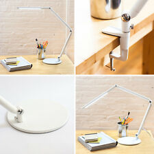 Clamp On LED Desk Lamp Adjustable Arm With Round Base White Office Dorm