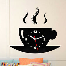 Cute Wall Clock Coffee Cup Shaped Decorative Kitchen Wall Clocks Living Room