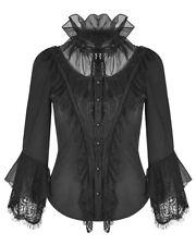 Punk Rave Womens Gothic Blouse Top Black Lace Steampunk VTG Victorian Regency