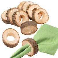 12PCS Wooden Napkin Serviette Rings Holders for Wedding Party Dinner Decor