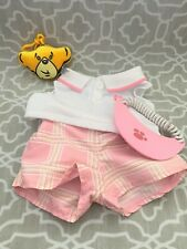 Build A Bear Pink & White Golf Tennis Outfit With Visor & Plush Backpack Clip