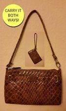 ■NWOT�?Nicole Miller BROWN Crocodile WRISTLET WALLET or SMALL PURSE CARRY 2 WAYS