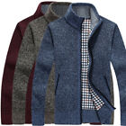 Men's Sweater Winter Warm Thicken Zipper Pullover Sweater Casual Knitwear Coat B