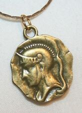 Delightful Round Brasstone Trojan Warrior Pendant Necklace ++++
